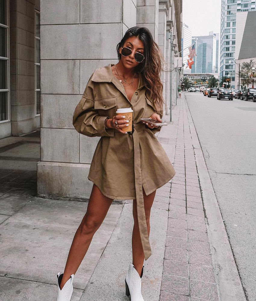 OOTN Long Batwing Sleeve Mini Dress Women Office Lady Shirt Dresses Sashes Vintage Tunic Dress Khaki 2019 New Outerwear Casual (5)