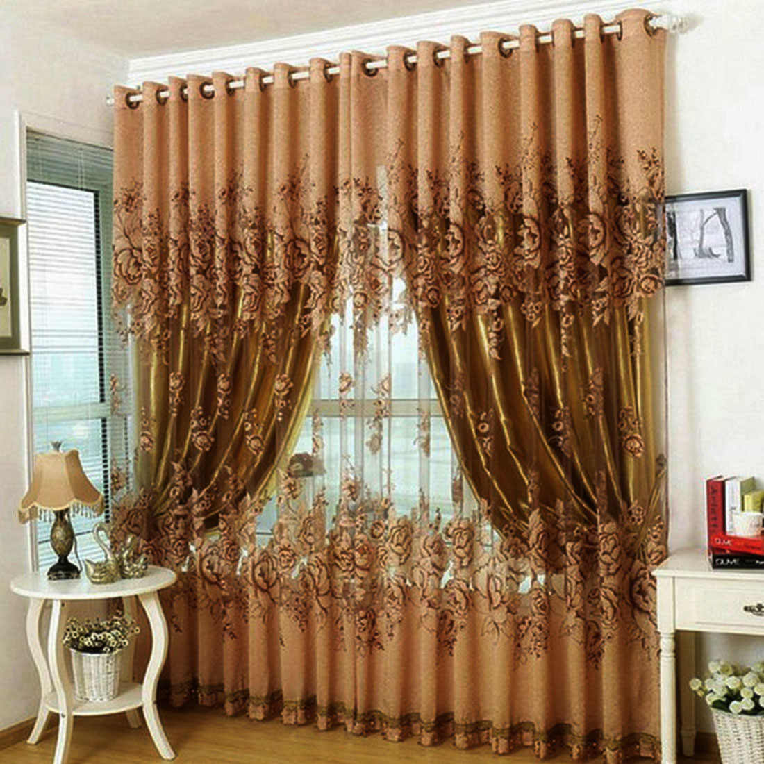Fashion Modern Floral Tulle Living Room curtain(Brown) 250*100cm