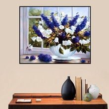 Blue Hyacinth Flowers Bonsai Vintage Home Decorative Oil Canvas Painting Wall Art Picture for Living Room Office Decoration Gift все цены