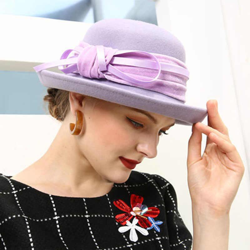 Фетровая шляпа из шерсти Фибоначчи Fedoras Женская бархатная фетровая шляпа с бантиком, 8 слов, купольная фетровая шляпа для женщин