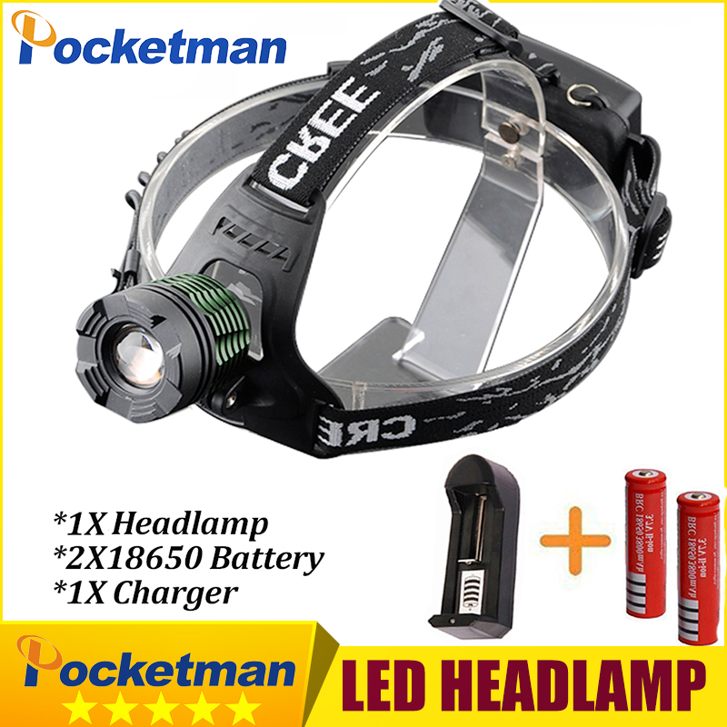 HOT 3800Lumen CREE XM-L T6 LED Headlamp Headlight Caming Hunting Head Light Lamp 3 Modes +2*18650 Battery + Charger z40