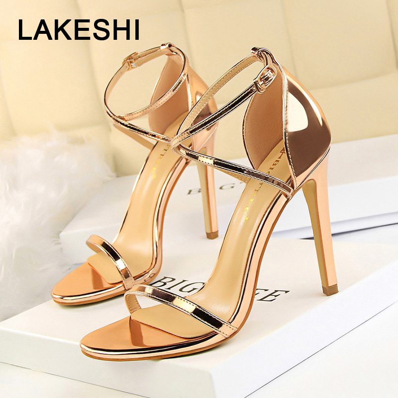LAKESHI Shoes Gold Stiletto Women Sandals High-Heels Sexy Patent Leather Fashion New