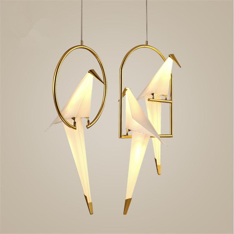 Nordique Postmoderne Personnalité Créative Birdie Chambre Lustre De Chevet Balcon Restaurant Simple Grue LED Lampe Livraison Gratuite