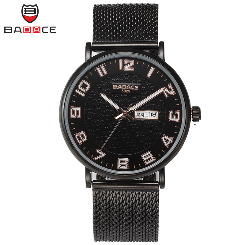 BADACE   Men Watches Top Brand Luxury Waterproof Ultra Thin Date Clock Male Steel Mesh Strap Casual Quartz Watch Wristwatch 5029 men watches top brand wwoor date clock male waterproof quartz watch men silver steel mesh strap luxury casual sports wrist watch
