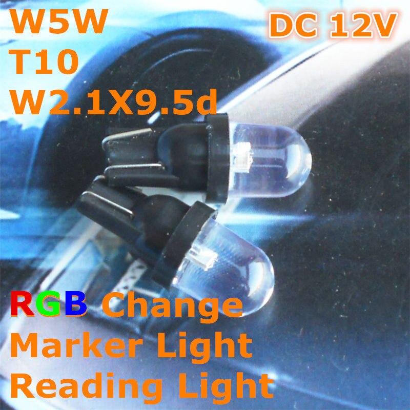 12V LED Full Color RGB Change Car Bulb Lamp T10(10mm Spot Lamp) W5W W2.1X9.5d for Signal Door Licence Board Light