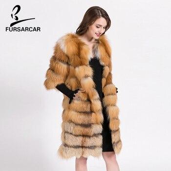 FURSARCAR Real natural abrigo de piel de zorro botón tres cuartos O ...