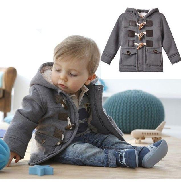 Kroean Bebé Infantil Niños Invierno Outwear de Lana Botón de la Bocina Abrigo Sudaderas Con Capucha Gris