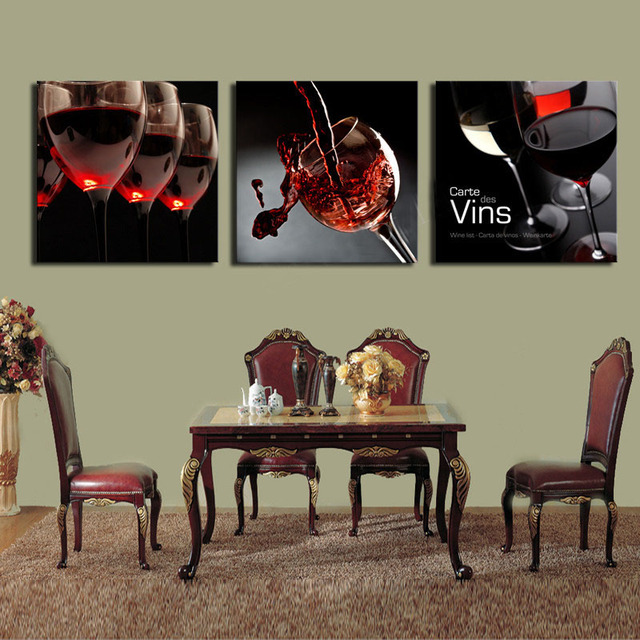 3 Pieces Modern Wall Painting Red Wine Wall Art Picture Paint On