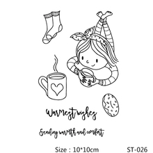 AZSG Coffee Cookies Socks Lovely Girl Clear Stamps/Seals For DIY Scrapbooking/Card Making/Album Decorative Silicone Stamp Crafts