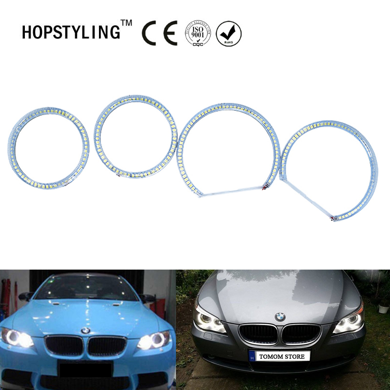 4pcs/set Car SMD Angel eye halo ring kits for BMW E87 No Error led headlight Xenon White Running Turn Light DRL 5 color car angel eye light halo ring cotton light error free led smd for bmw e90 3 series j 1466