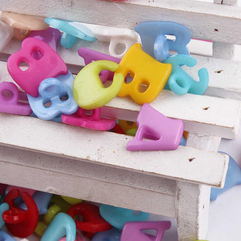 100 sztuk 1 otwór przycisk Mix kolor ABC list kolorowa żywica Craft akcesoria do scrapbookingu DIY064