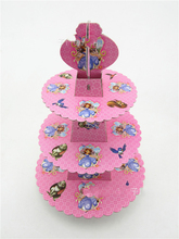 1pcs/set Sofia Princess Baby Shower Girl Birthday Party Decorations Supplies 3 Tier Cardboard Cupcake Stand 24 Cupcakes
