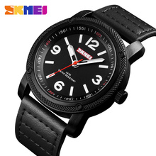 SKMEI Fashion Sport Men Watch Quartz Watches Clock Leather Strap Top brand Luxury Waterproof Wristwatches Relogio Masculino 1417 men watch top luxury brand chronos fashion clock pu leather strap waterproof multifunction quartz wristwatches gift hot sale