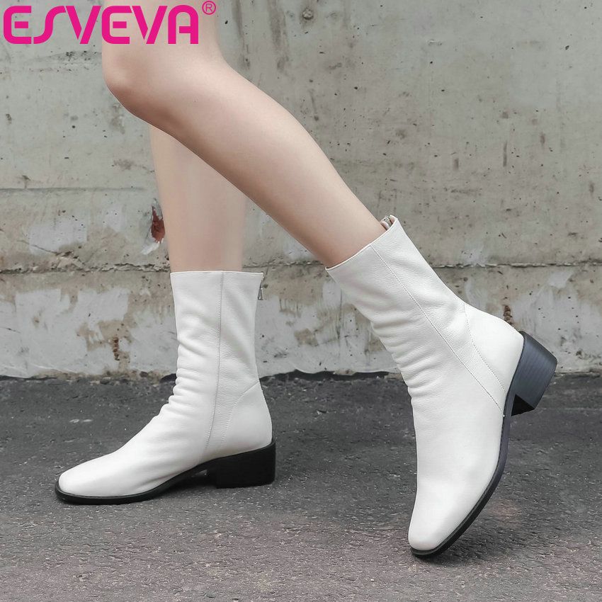 ESVEVA 2019 Woman Boots Square Med Heels Autumn Shoes Sewing Autumn Boots Women Ankle Boots Handmade Shoes Square Toe Size 34-43ESVEVA 2019 Woman Boots Square Med Heels Autumn Shoes Sewing Autumn Boots Women Ankle Boots Handmade Shoes Square Toe Size 34-43