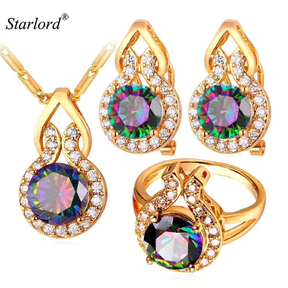 Cute Wedding Bridal Jewelry Set Women Trendy Synthetic Mystic Wholesale Gold Color Bling Earrings Ring Necklace Sets PER1790Cute Wedding Bridal Jewelry Set Women Trendy Synthetic Mystic Wholesale Gold Color Bling Earrings Ring Necklace Sets PER1790