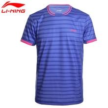 Li-Ning мужские рубашки для бадминтона, дышащие, обычная посадка, спортивные футболки с подкладкой, футболка AAYM143 MTS2646