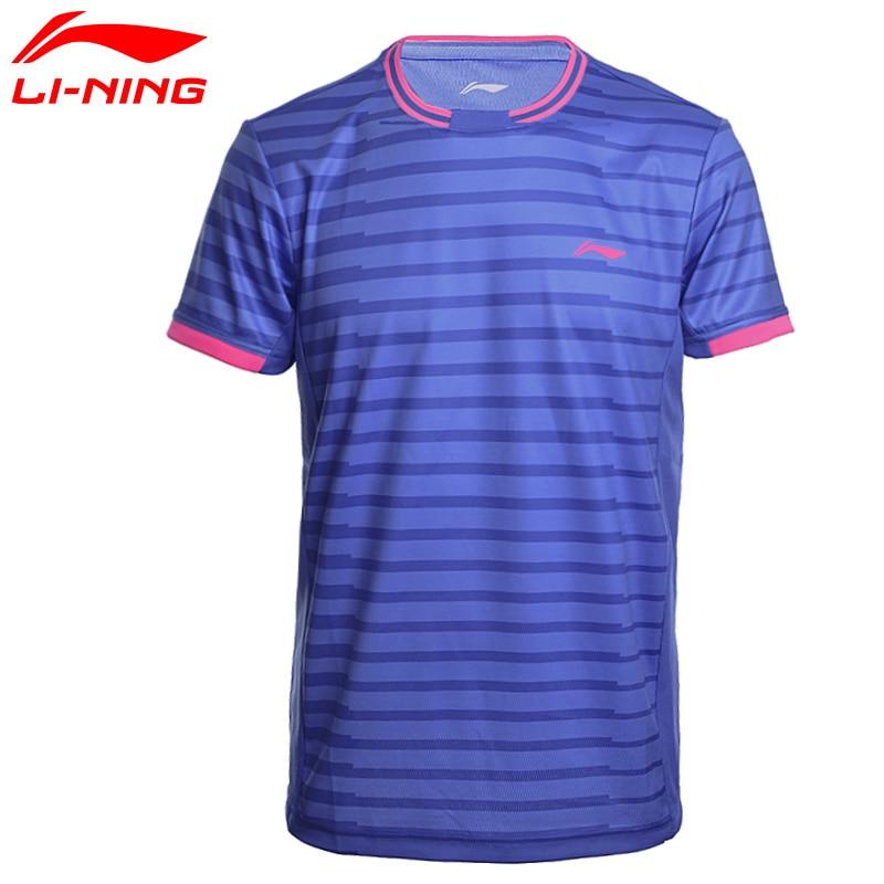 Li-ning camisas de badminton masculino em seco respirável regular ajuste esportes t-shirts forro aaym143 mts2646