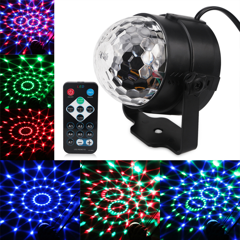 3W DJ Disco Ball Lumiere Sound Activated Laser Magic Ball Projector RGB Stage Lighting Effect Lamp Christmas KTV Music Party rg mini 3 lens 24 patterns led laser projector stage lighting effect 3w blue for dj disco party club laser