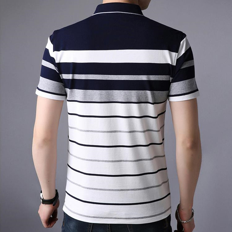 2018 New Men summer casual shirt slim fit short sleeve 100%cotton breathable soft business striped embroidery shirts Po11 4