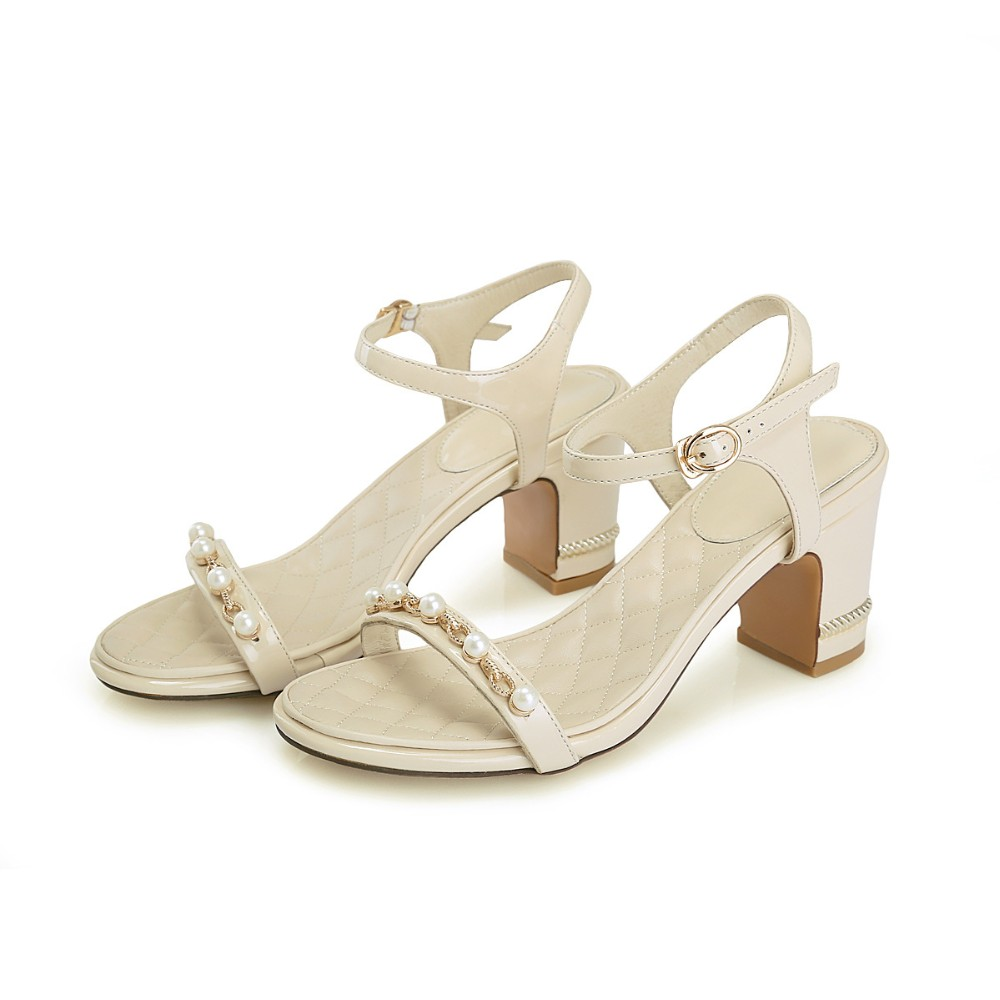 New female Pearl leather sandals rough
