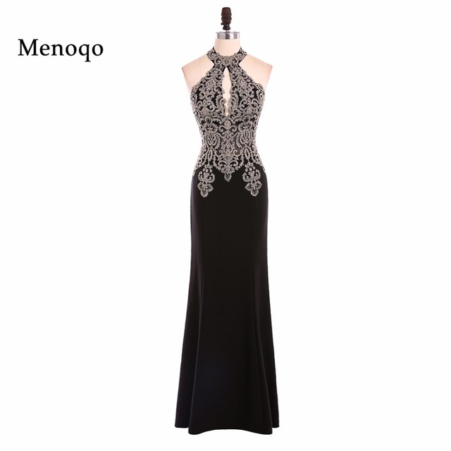 Menoqo Black Evening Dress Long Women Pageant Gown Real Photos 2017 New Mermaid Floor Length Appliques Special Occasion Dresses