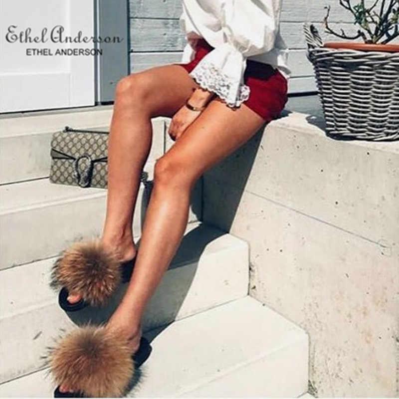אתל אנדרסון רכות אמיתי שועל פרווה שקופיות מקורה כפכפים נעליים יומיומיות אישה דביבון פרווה סנדלי ווג קטיפה נעליים