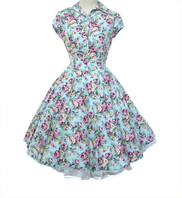Women's 100% Cotton 40's 50's 60's Style Swing Vintage Dresses Print Floral Polka Dot Rockabilly Dress Robe Party Dresses