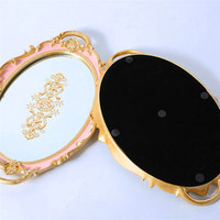 European Lace Oval Mirror Printing Tray Decoration Cake Afternoon Tea Makeup Wedding Party Jewelry Storage Decoration