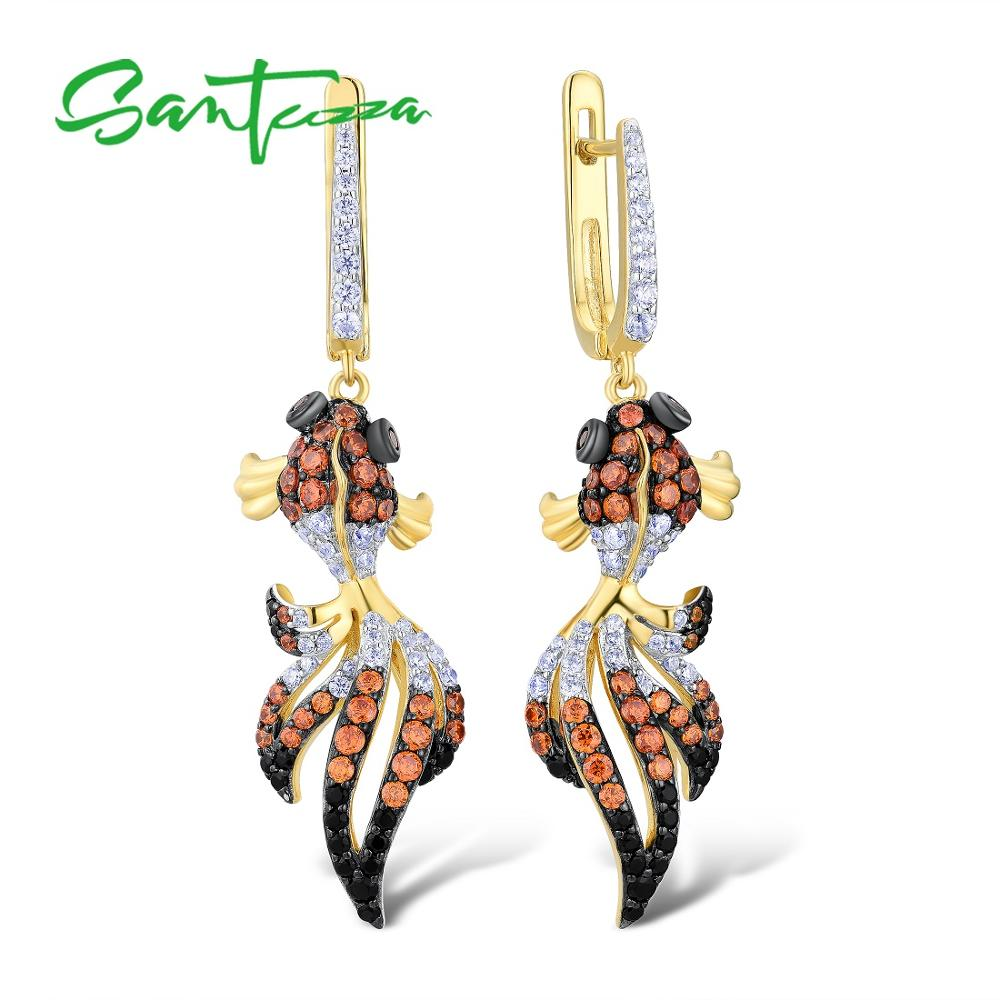 SANTUZZA Silver Fish Earrings For Women 925 Sterling Silver Dangle Earrings Silver 925 Gold Color Cubic Zirconia brincos Jewelry