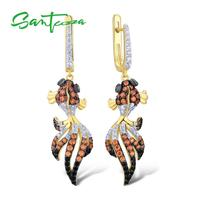 SANTUZZA Silver Fish Earrings For Women 925 Sterling Silver Dangle Earrings Silver 925 Gold Color Cubic Zirconia brincos Jewelry