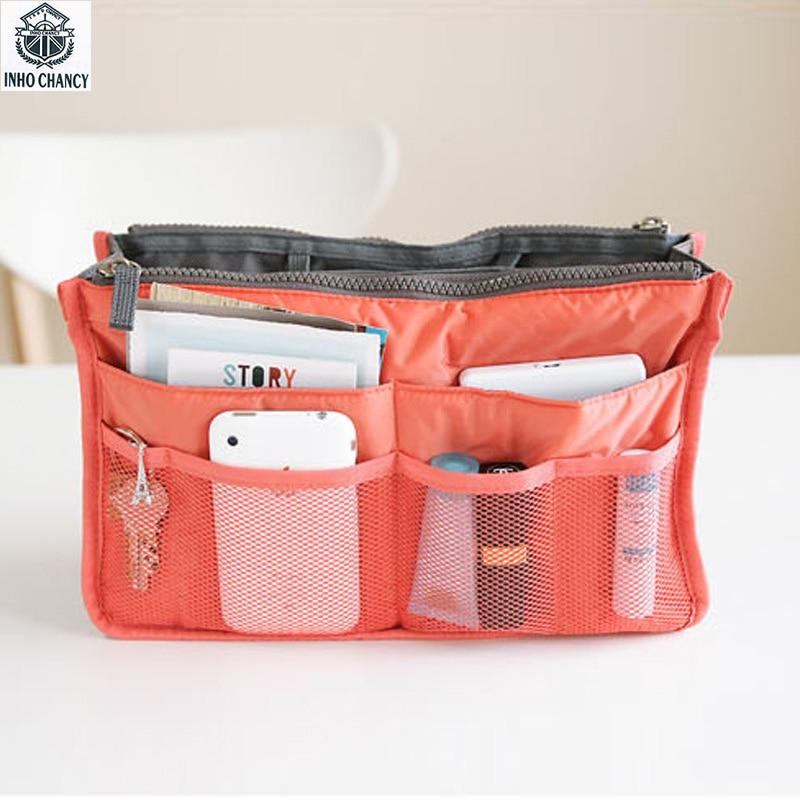 INHO CHANCY Multi-function Makeup Organizer Bag Portable Women Travel Cosmetic Bags Waterproof Nylon Toiletry Kits Free Shipping