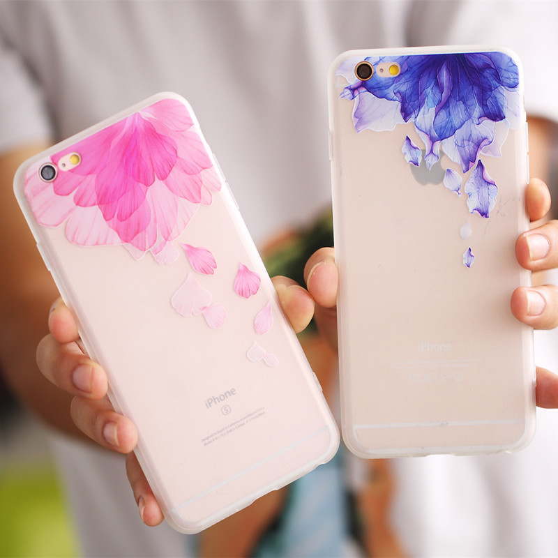 Flower Patterned Phone Cases For Iphone 7 8 Plus X 10 Soft Silicone TPU Cover For Iphone 6S 5 6 S 5S SE Back Case Funda