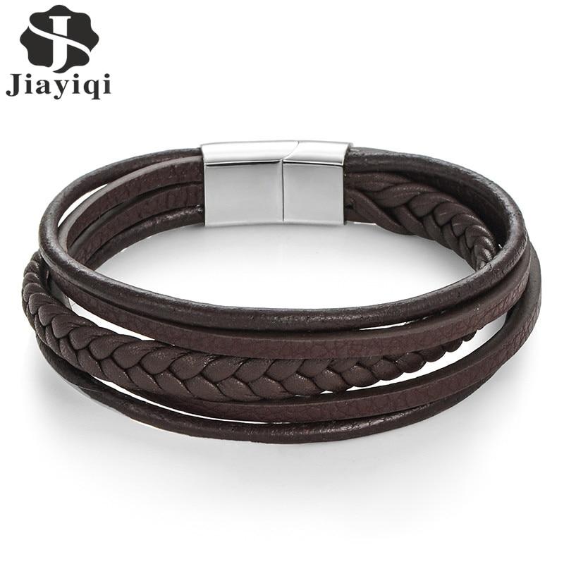 Jiayiqi Moda Del Cuoio Genuino Bracciale Uomo Bracciali In Acciaio Inox Intrecciato Corda Catena per Maschile Gioielli Vintage Regali