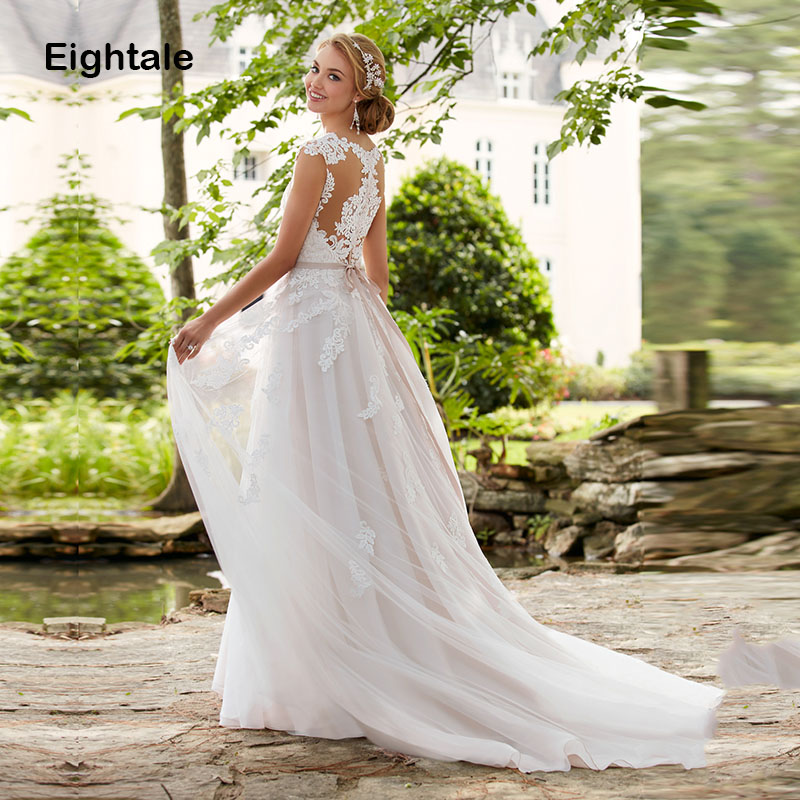 Eightale Boho Wedding dress Plus Size Sweetheart Appliques Tulle Lace Cap Sleeves Beaded Sashes Wedding Gowns Bridal Dress 2019