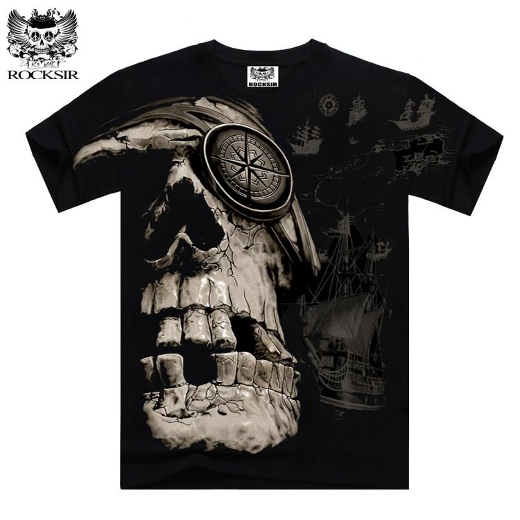 Rocksir Summer Men 39 S T Shirt Skeleton Pirates T Shirts For