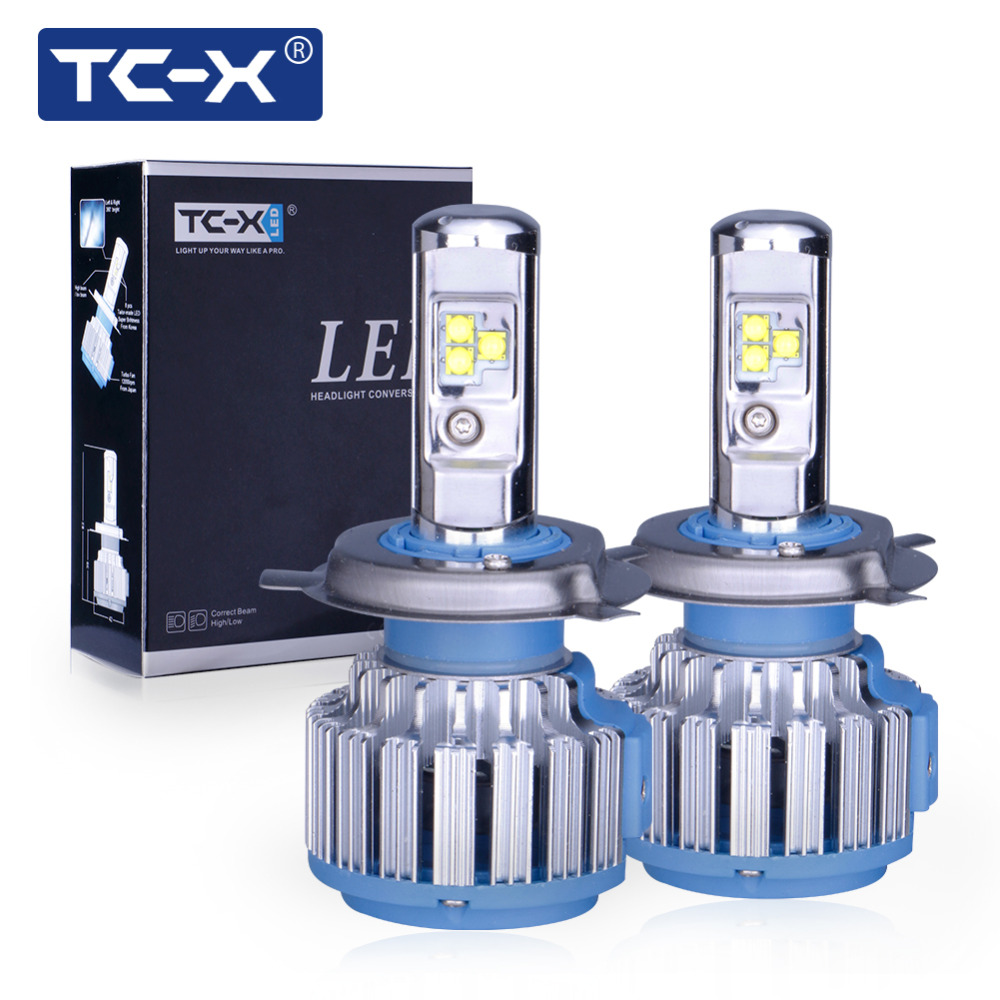 TC-X 2 PCS Car LED Headlight Bulbs Kit H4 Hi/Lo H11 H1 H7 Main Beam Dipped Beam 12V 6000K White LED Bulb Replacement Auto Lamp skyjoyce mini led projector lens h4 led headlight bulbs led conversion kit h4 led bulb light lamp hi lo beam headlight lhd h4