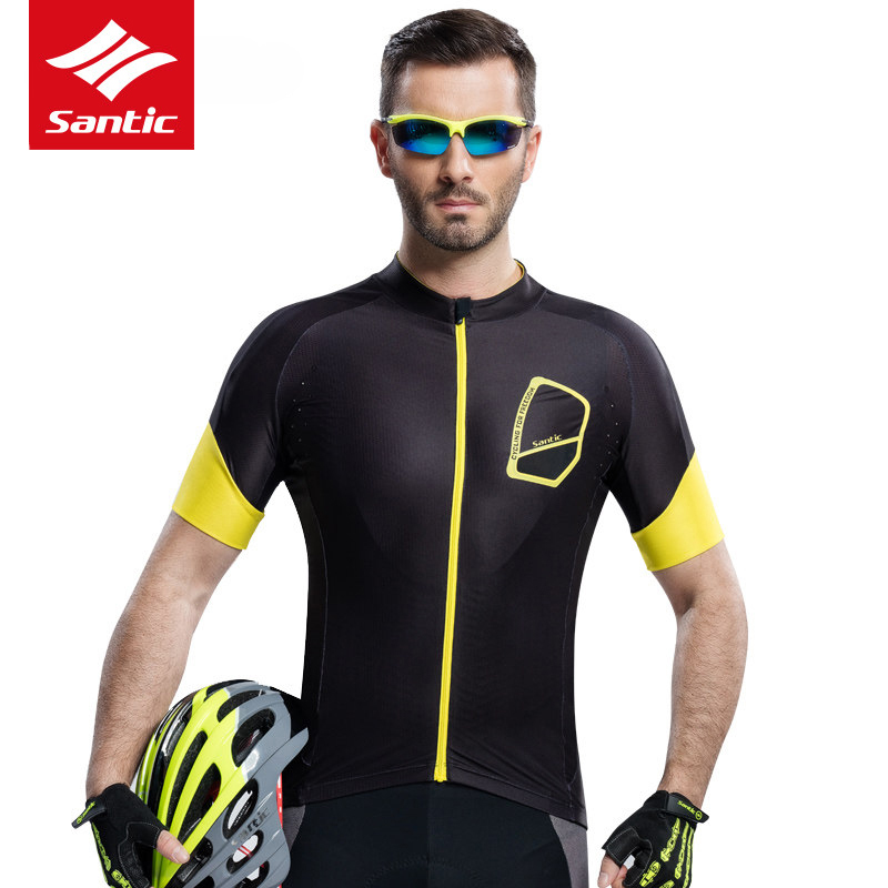 все цены на Santic Cycling Jersey Short Sleeve Black Breathable Quick Dry Downhill Jersey DH MTB Bicycle Bike Jerseys Clothing Ropa Ciclismo онлайн