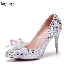 Sexy Shining Woman Pumps Thin High Pointed Toe Party Shoes Wedding Bride Pumps Large Size White Rhinestone Shoes XY-A0064 flamingo shoes 92b xy 1650 shoes for children 23 28