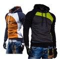 Nova Marca 2016 Outono Inverno Moda Patchwork Zíper de Algodão Mens Hoodies e Moletons M-XXXL Plus Size Homens Jaqueta de Moletom Com Capuz