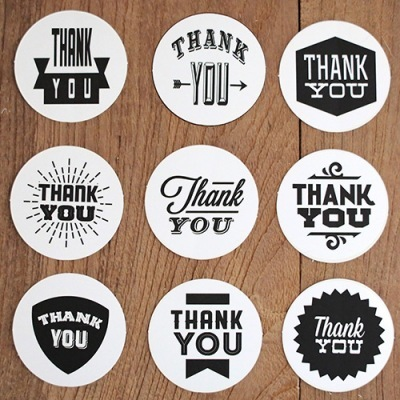 9pcs set Black and white greetings stickers THANK YOU Round Stickers