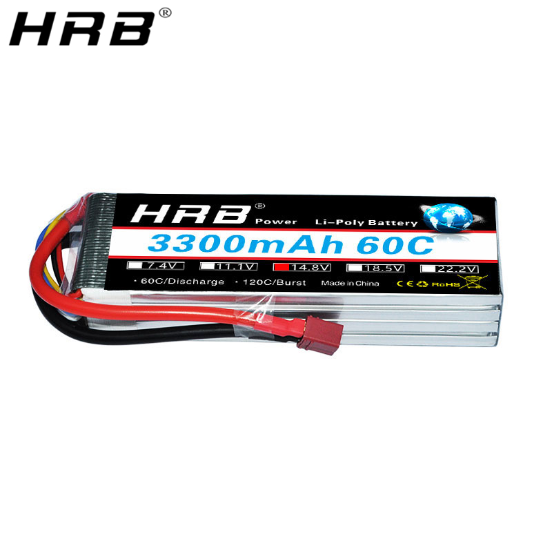 HRB <font><b>4S</b></font> 14.8V Lipo Battery <font><b>3300mah</b></font> XT60 T Deans EC5 TRX XT90 60C For Truggy Mad Rally Car 1/8 Racing Heli Airplane Truck RC Parts image