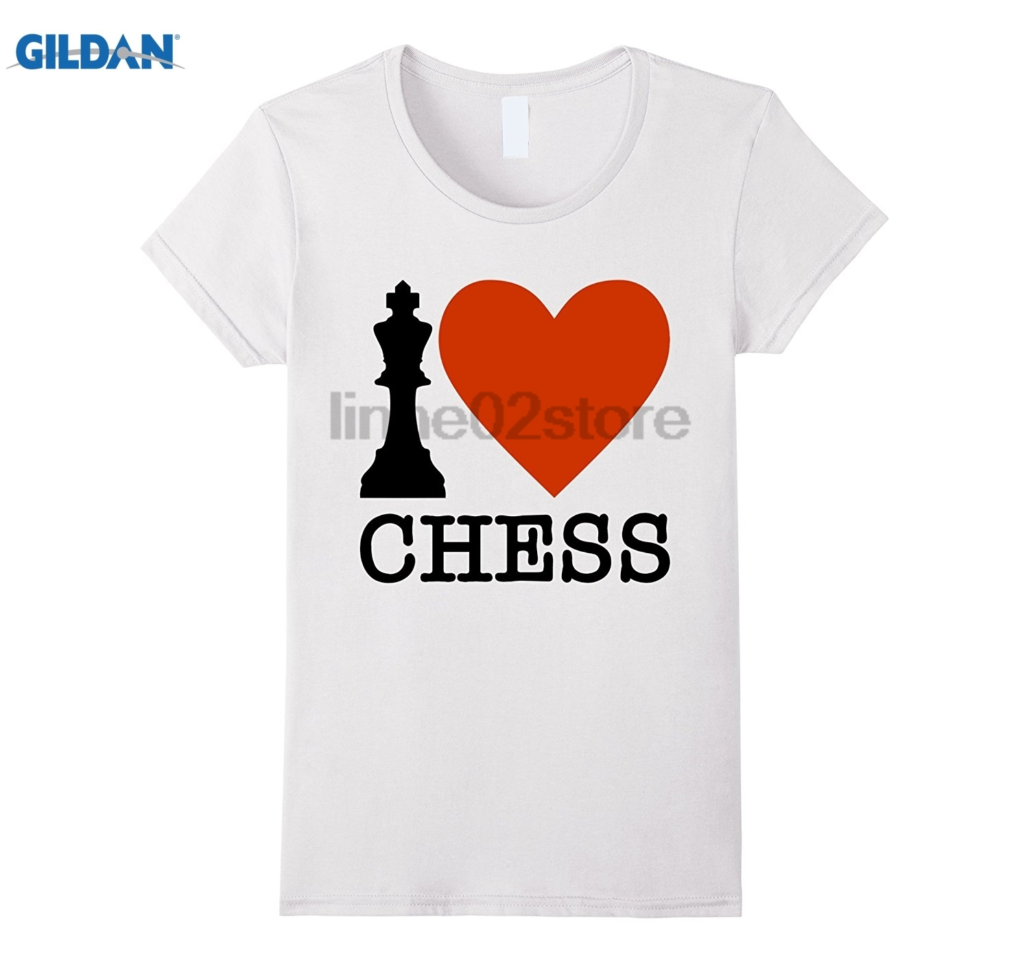 GILDAN I Love Chess T-Shirt Strategy Board Game Master Graphic Tee Mothers Day Ms. T-shirt Dress female T-shirt