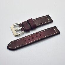 цена на Handmade vintage wine red genuine leather strap watch band 18mm/20mm/22mm/24mmbracelet wrist belt watchband+Classic metal buckl