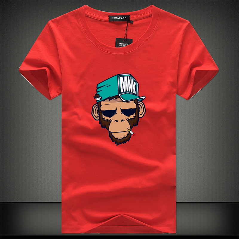 2018 Summer Cool T-Shirts Cotton Plus Size 5XL Tees Monkey Print Short Sleeve Men's T Shirts Male TShirts Camiseta Tshirt Homme