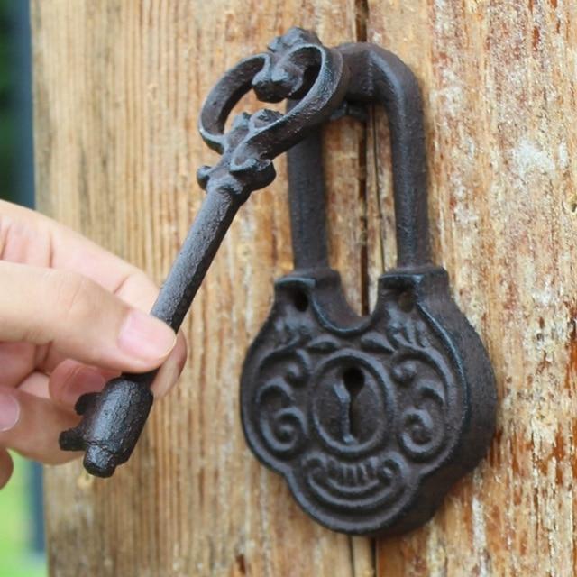 Cast Iron Door Knocker With Handle Key Design Wrought Doorknocker Latch Metal Gate Home