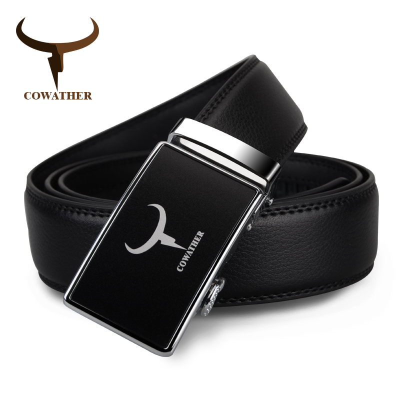 COWATHER New Arrival Men's 100% Genuine Leather Belts For Men High Quality Alloy Automatic Buckle Strap Male  Free Shipping