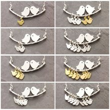 Bird Pendant Necklace 1-8 Golden Silver Children And Mother Dad Alloy Clavicle Chain Fashion Personality Family Jewelry Gifts(China)