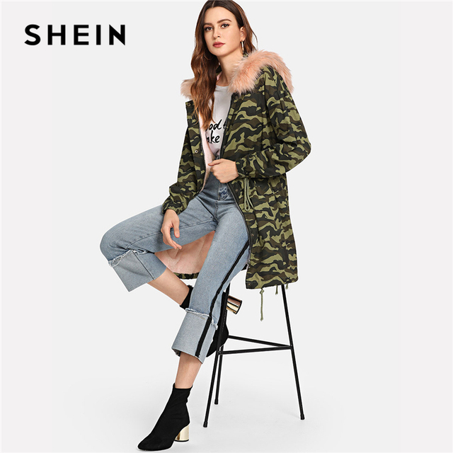 5ade117db0 SHEIN Hooded Long Faux Fur Como Print Jacket Women Coat Casual Streetwear  Long Sleeve Ladies Outwear
