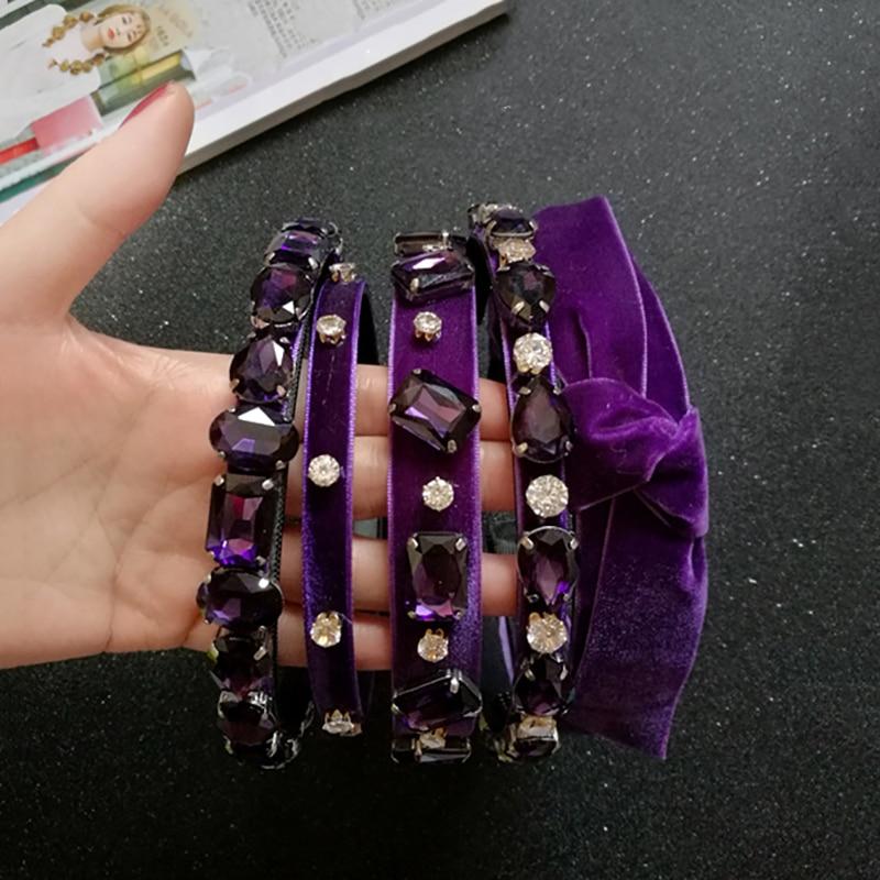 Handmade Vintage Purple  Rhinestone Hairbands Women Velvet Bow Non-slip Headband Hair Accessories Sweet Headwear Original Design