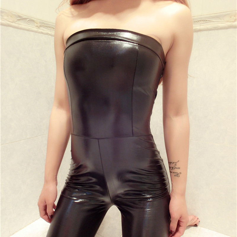 3e098caaea Women Sexy PU Leather Jumpsuit Tight Chest Playsuit Erotic Slim Zipper  Bodysuit Night Club Strapless Jumpsuit Rompers-in Jumpsuits from Women s  Clothing on ...